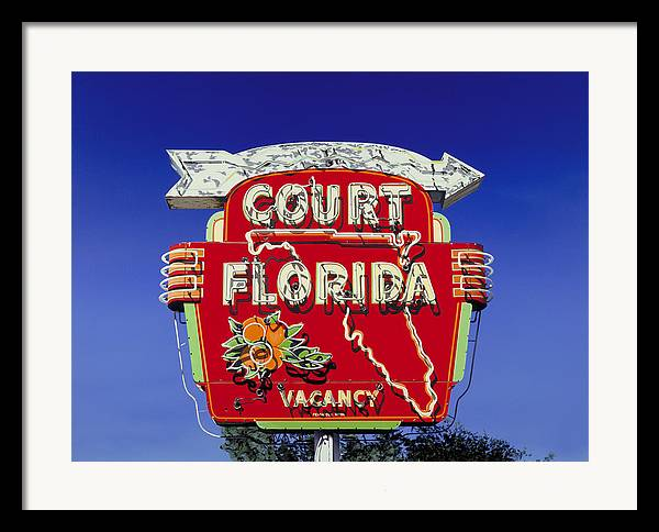 Neon Framed Print featuring the painting Court Florida by Randy Ford