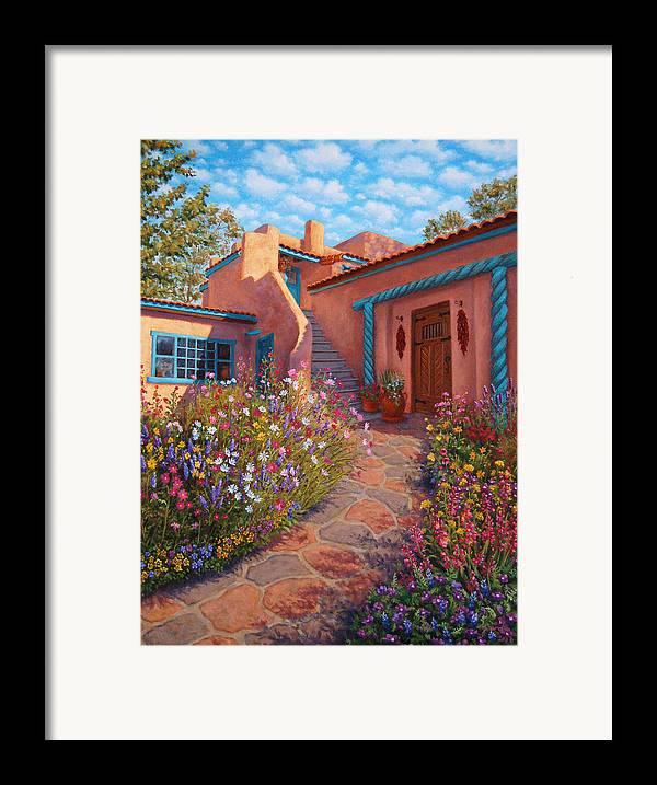 Southwest Framed Print featuring the painting Courtyard Garden In Taos by Johanna Girard
