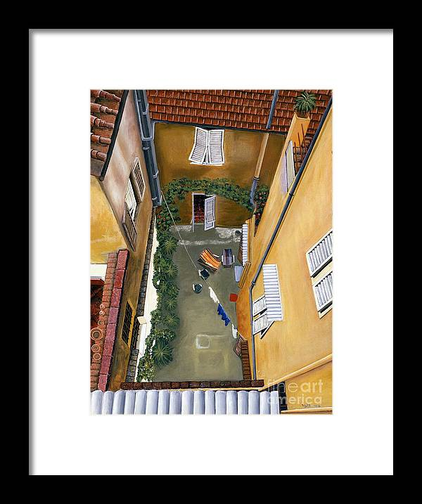 Court Yard Framed Print featuring the painting Courtyard In Milan by Jiji Lee