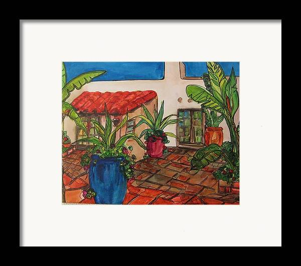 Framed Print featuring the painting Courtyard In Rancho Santa Fe by Michelle Gonzalez
