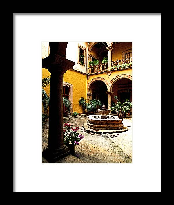 Darian Day Framed Print featuring the photograph Courtyard Off The Cafe by Mexicolors Art Photography