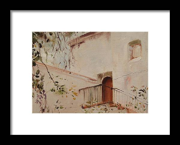 Landscape Framed Print featuring the painting Courtyard View by Barbara Andolsek
