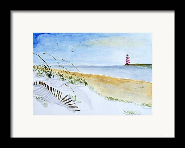 Beach Framed Print featuring the painting Cove With Lighthouse by Robert Thomaston
