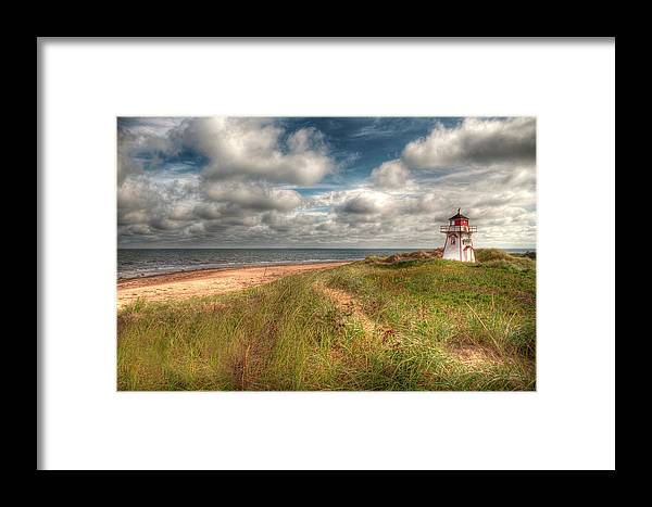 Covehead Framed Print featuring the photograph Covehead Lighthouse by Elisabeth Van Eyken
