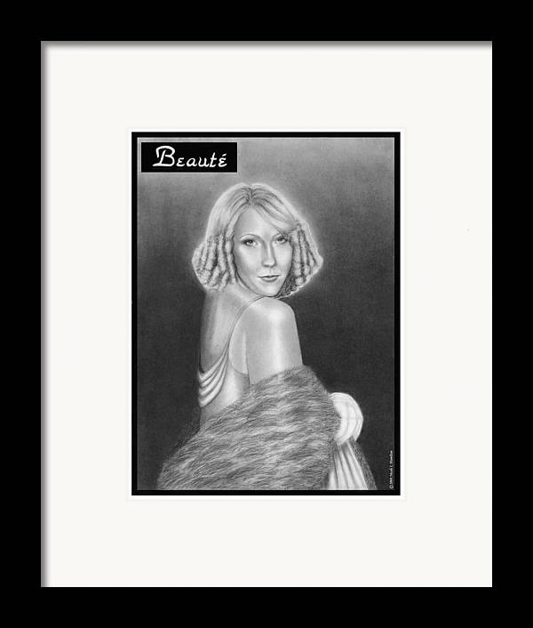 Model Framed Print featuring the drawing Cover Girl by Nicole I Hamilton