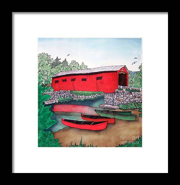 Covered Bridge Framed Print featuring the painting Covered Bridge And Canoes by Linda Marcille