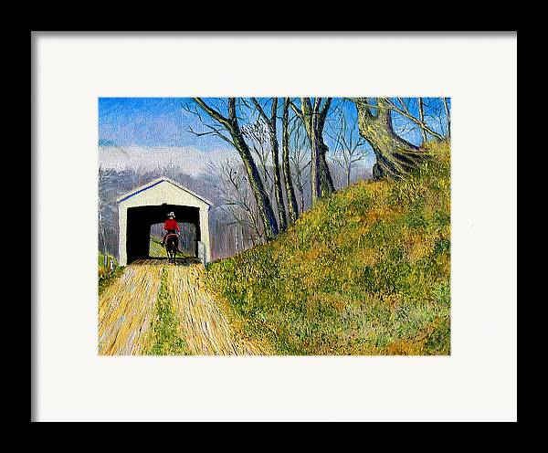 Cowboy Framed Print featuring the painting Covered Bridge And Cowboy by Stan Hamilton