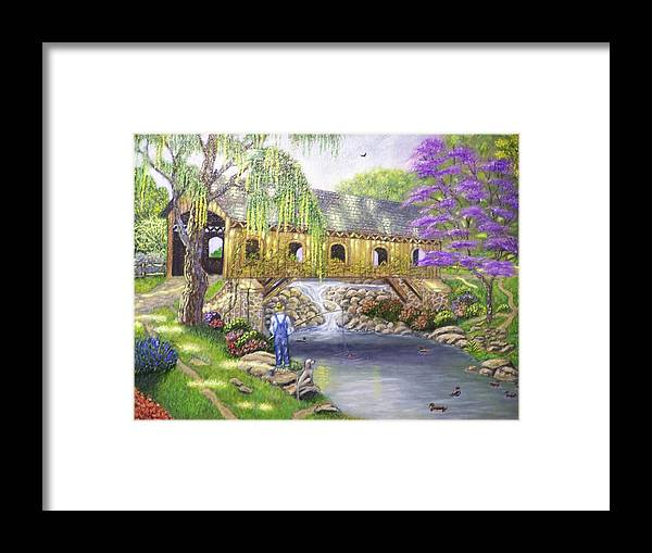 Landscape Framed Print featuring the painting Covered Bridge by Charles Vaughn