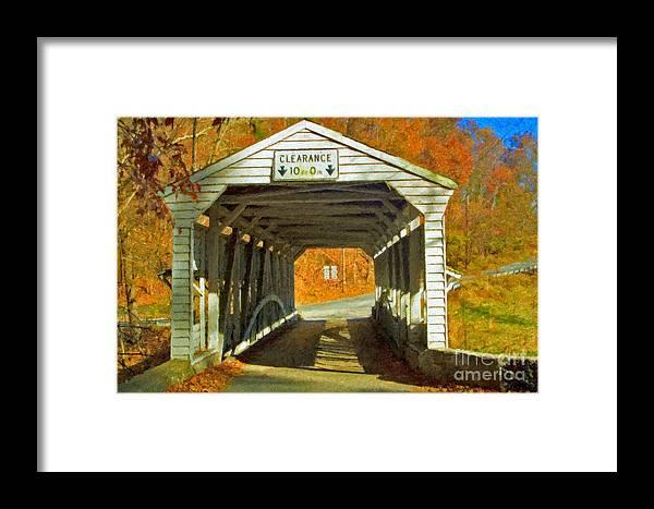 Covered Bridge Revolutionary Civil War Impasto Framed Print featuring the photograph Covered Bridge Impasto Oil by David Zanzinger