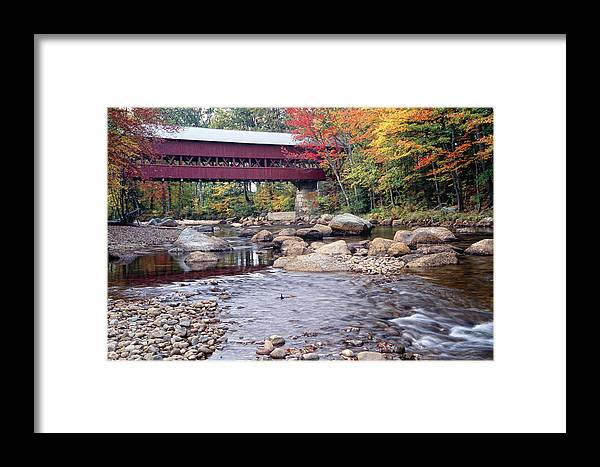 Architecture Framed Print featuring the photograph Covered Bridge Over The Swift River by George Oze