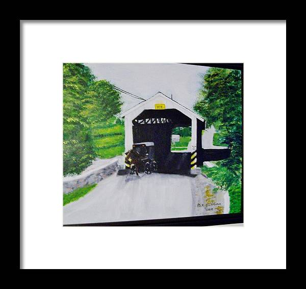 Covered Bridge Framed Print featuring the painting Covered Bridge by Pat Gibbons