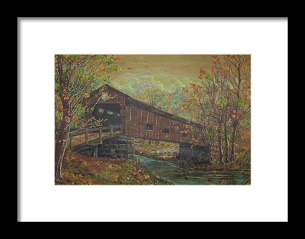 Bridge Framed Print featuring the painting Covered Bridge by Phyllis Mae Richardson Fisher