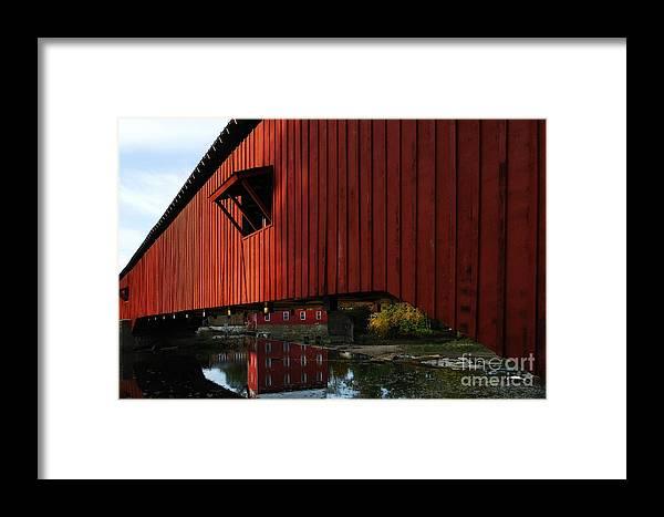 Mel Steinhauer Framed Print featuring the photograph Covered Bridge Reflections by Mel Steinhauer