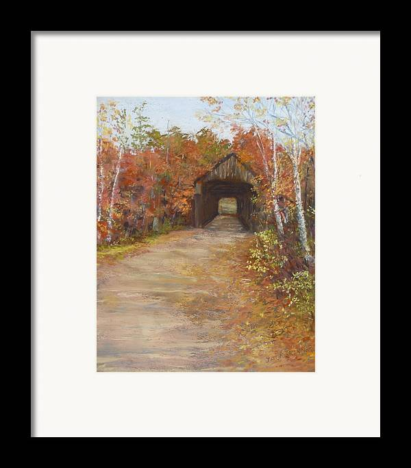 Covered Bridge Framed Print featuring the painting Covered Bridge Southern Nh by Jack Skinner