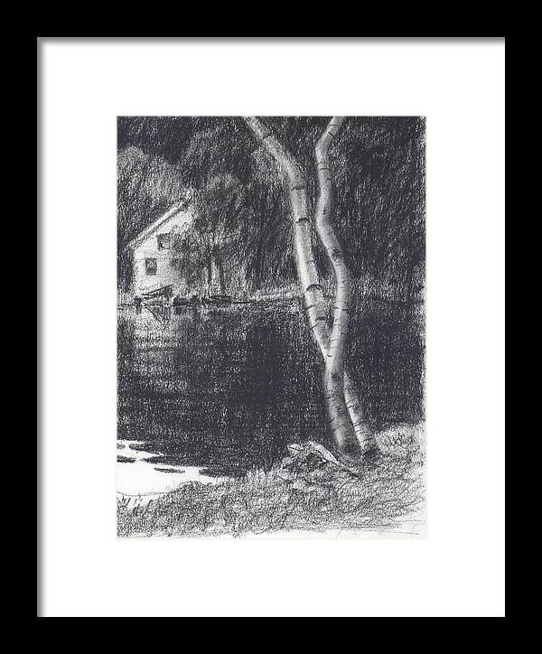 Sketch Framed Print featuring the drawing Cove's Edge by Michael Vires