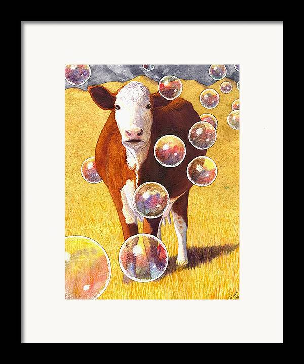 Cow Framed Print featuring the painting Cow Bubbles by Catherine G McElroy