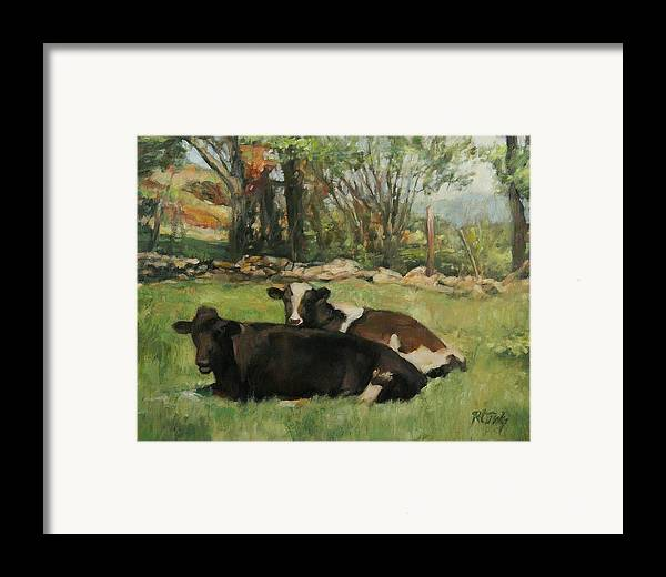 Cow Framed Print featuring the painting Cow Buddies by Robert Tutsky