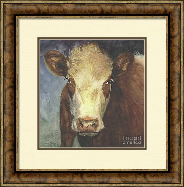 Cow Painting Framed Print featuring the painting Cow Portrait II by Terri Meyer