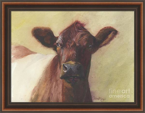 Cow Painting Framed Print featuring the painting Cow Portrait IIi - Pregnant Pause by Terri Meyer