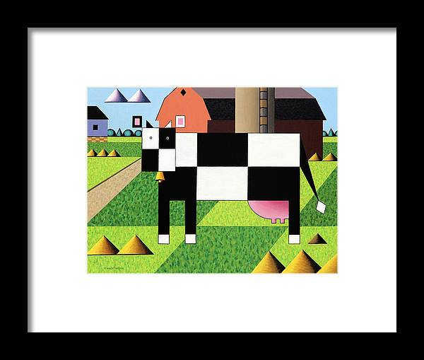 Cow Framed Print featuring the painting Cow Squared With Barn Big by Bruce Bodden