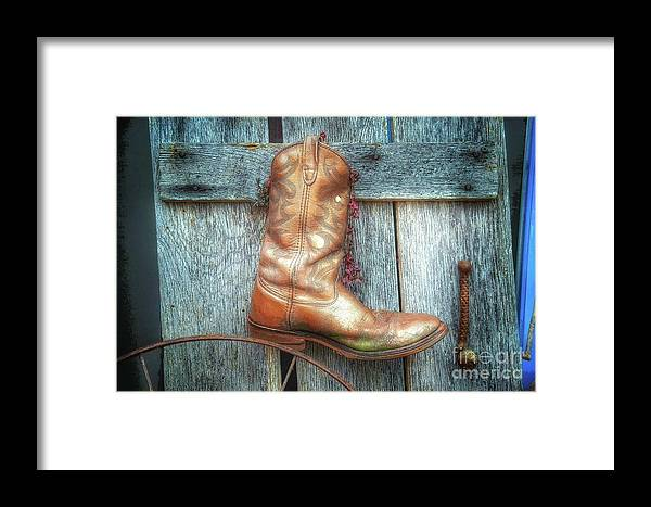 Artistic Display Framed Print featuring the photograph Cowboy Boot Rack by John Myers