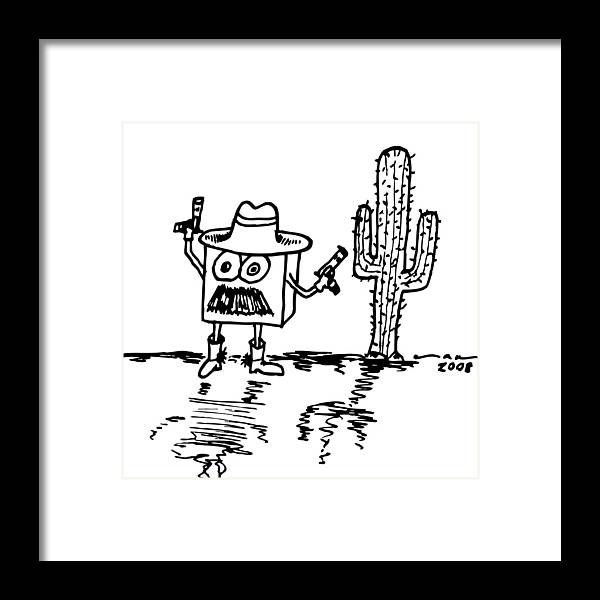 Drawing Framed Print featuring the drawing Cowboy Box by Karl Addison