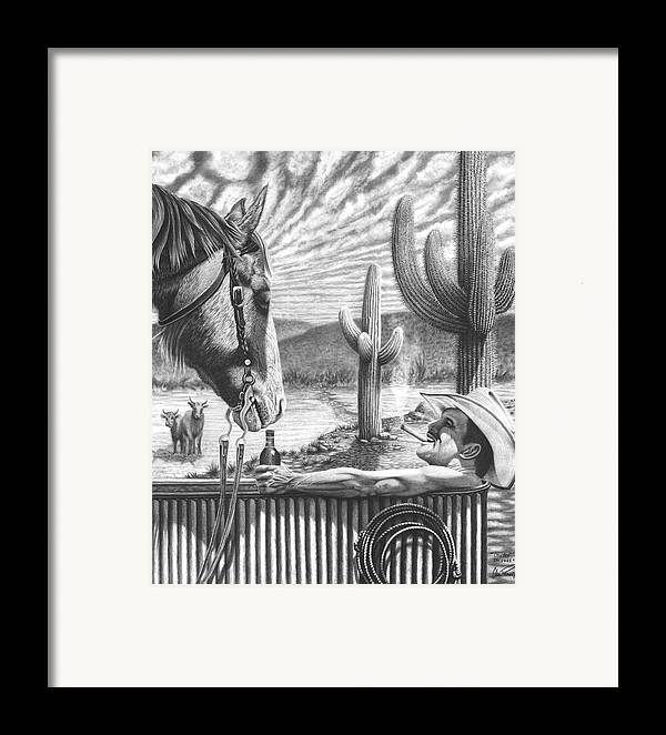 Cowboy Framed Print featuring the drawing Cowboy Jacuzzi by Glen Powell