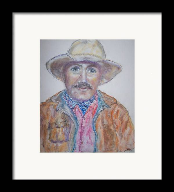 Portrait Of A Cowboy Framed Print featuring the drawing Cowboy Jim by Suzanne Reynolds