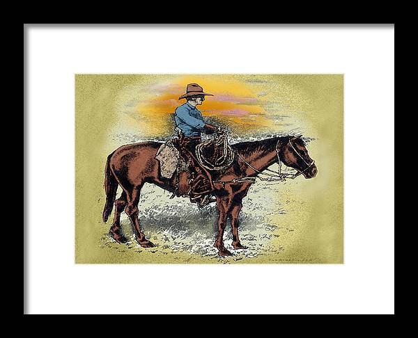 Cowboy Framed Print featuring the painting Cowboy N Sunset by Kevin Middleton