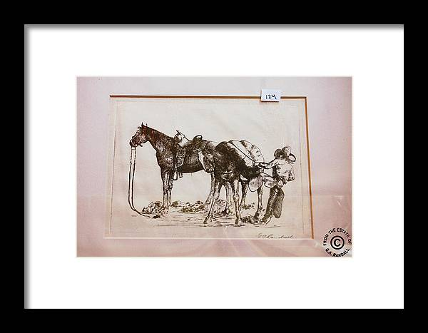 Cowboy Framed Print featuring the drawing Cowboy Saddling Up by Smart Healthy Life
