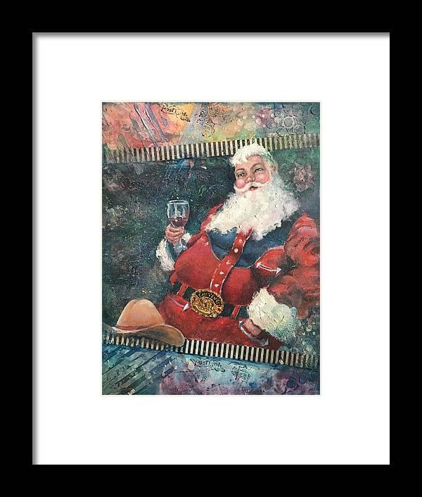 Santa Framed Print featuring the painting Cowboy Santa by Vicki Ross