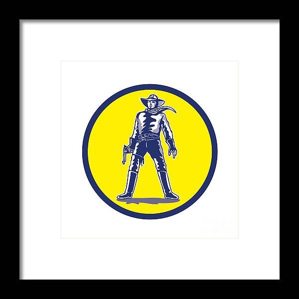 f2c7b680ad0 Cowboy Framed Print featuring the digital art Cowboy Standing With Pistol  Cartoon by Aloysius Patrimonio