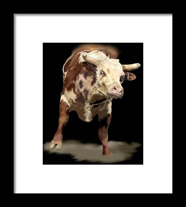 Bullriding Framed Print featuring the digital art Cowboy Up by Sally Lannier