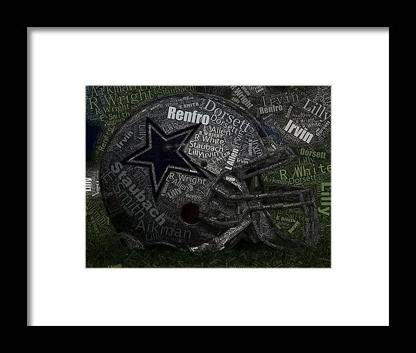 Dallas Cowboys Framed Print featuring the painting Cowboys Greatest Players Mosaic by Paul Van Scott