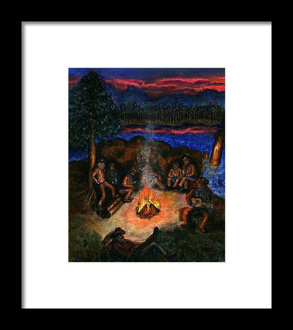 Cowboys Framed Print featuring the painting Cowboys Mountain Camp at Night by Tanna Lee M Wells