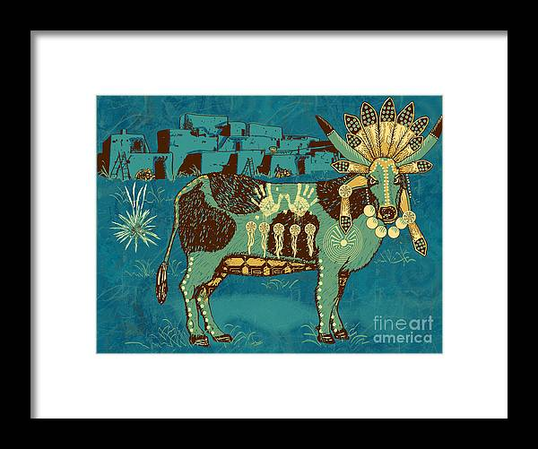 Native Framed Print featuring the digital art Cowchina by Laura Brightwood