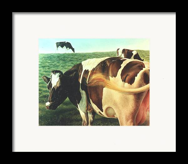 Cows Framed Print featuring the painting Cows 2 by Hans Droog