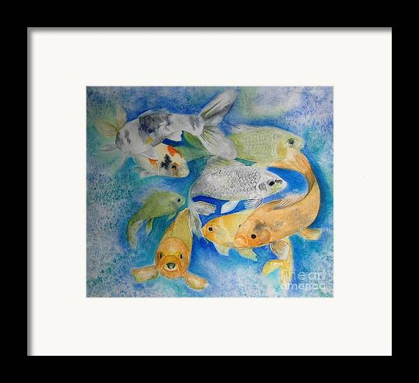 Water Framed Print featuring the painting Coy Koi by Vivian Mosley