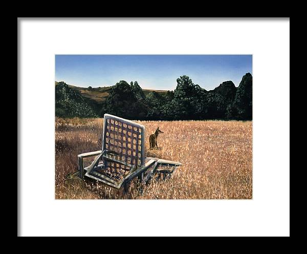 Animals Framed Print featuring the painting Coyote And Rabbit by Lance Anderson