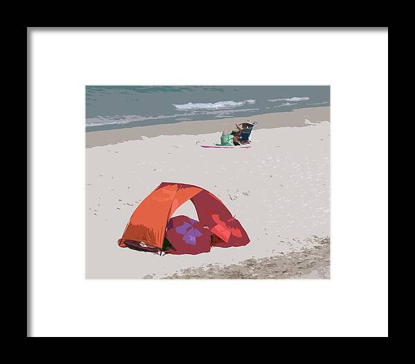 Florida Framed Print featuring the painting Cozy Hide-a-way For Two On A Florida Beach by Allan Hughes