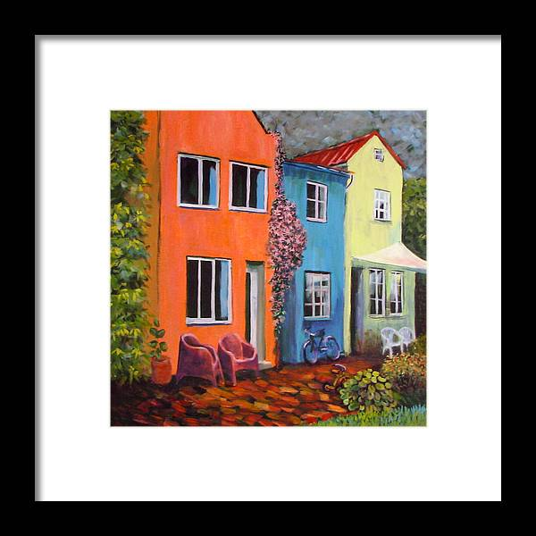 Cozy Framed Print featuring the painting Cozy Street by Art Nomad Sandra Hansen