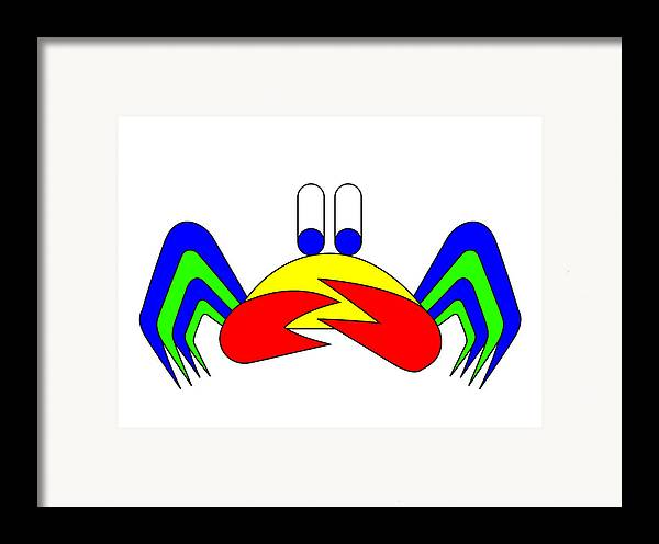 Crab-mac-claw Framed Print featuring the digital art Crab-mac-claw The Crab by Asbjorn Lonvig