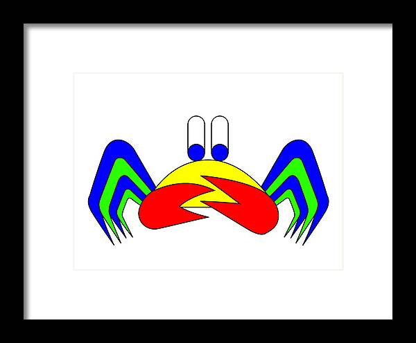 Crab-mac-claw Framed Print featuring the digital art Crab-mac-claw The Crab by Asbjorn Lonvig