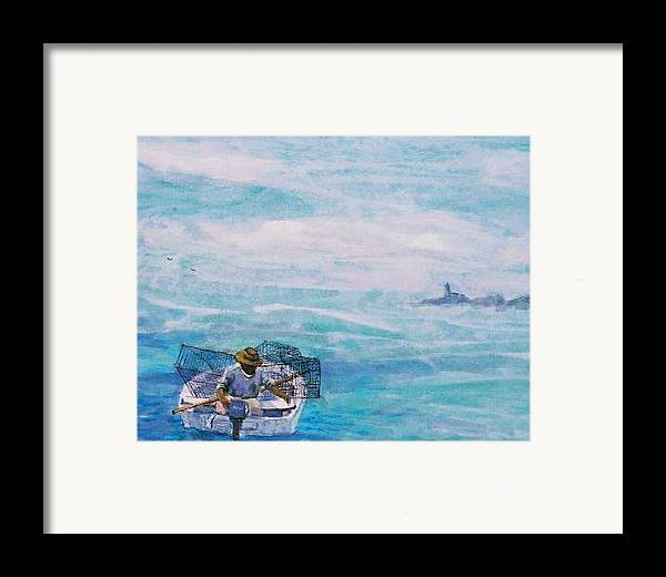 Crab Traps Framed Print featuring the painting Crab Traps by Ruth Mabee