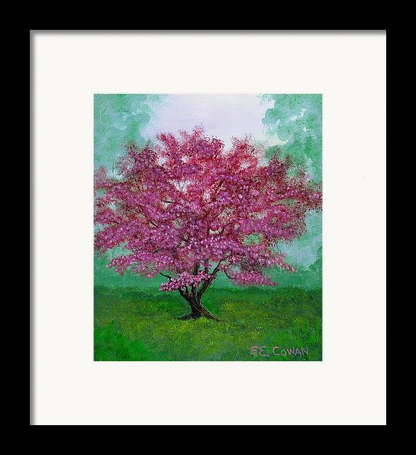 Landscape Framed Print featuring the painting Crabapple by SueEllen Cowan