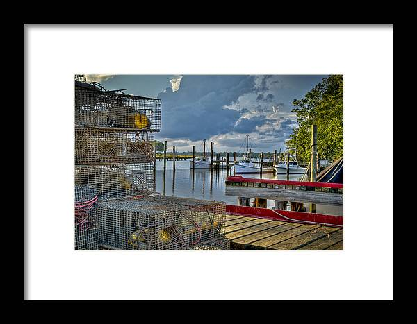 Rescue Framed Print featuring the photograph Crabpots And Fishing Boats by Williams-Cairns Photography LLC