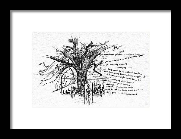 Abstract Framed Print featuring the drawing Cracking Ice by Laurence Lord