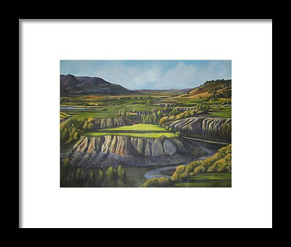 Golf Framed Print featuring the painting Craig's Course by Melody Horton Karandjeff