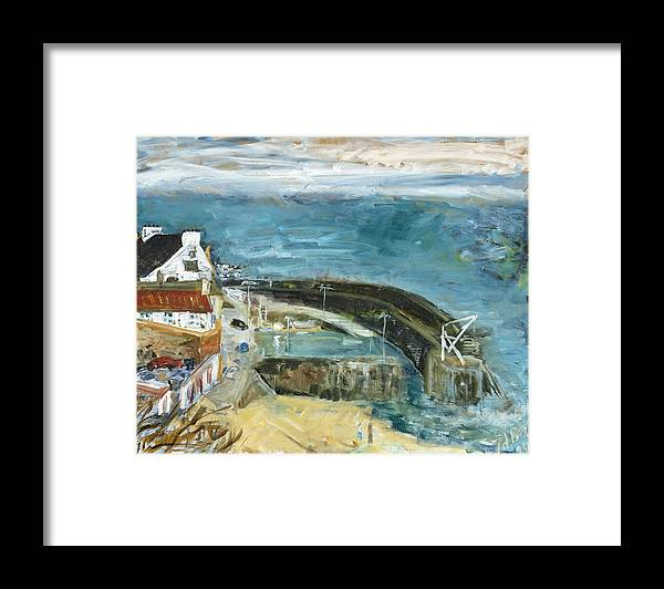 Sea Water Sky Houses Harbor Cars People Beach Wall Scotland Framed Print featuring the painting Crail Harbor by Joan De Bot