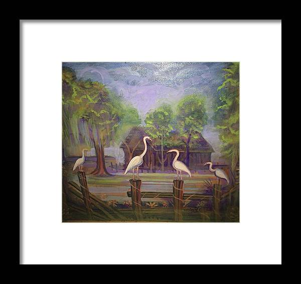 Birds Framed Print featuring the painting Craine Camp by Walter M Davis